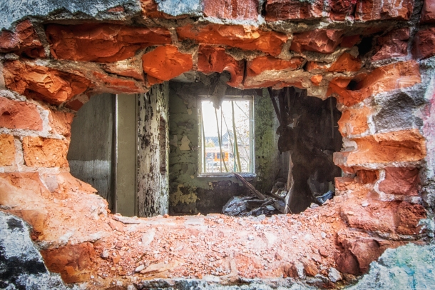Broken wall and window